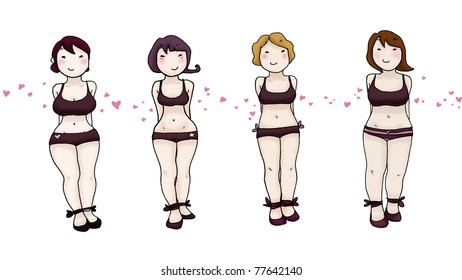Four beautiful smiling women with different body types in lingerie isolated on white background. Ink and digital colors