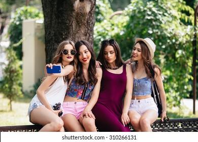 four teen girls flashing Funny