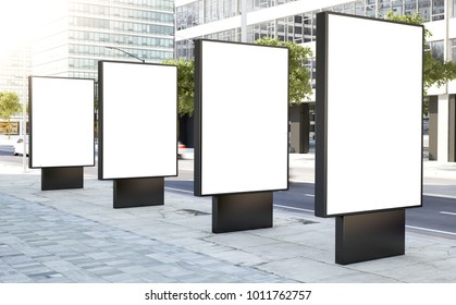 four billboard for outdoor advertising 3d rendering
