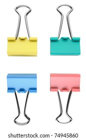 Four binder clips isolated on white background