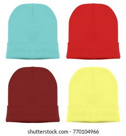 Four blank beanie hat knit wool material in blue sky soft color Red chili  color maroon cfb2aaaee91