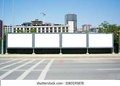 Four blank frame billboard mockup