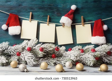 Four blank labels over Christmas decorative background