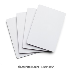 Four Blank Poker Cards Isolated on White Background.