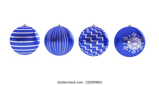 Four blue Christmas balls
