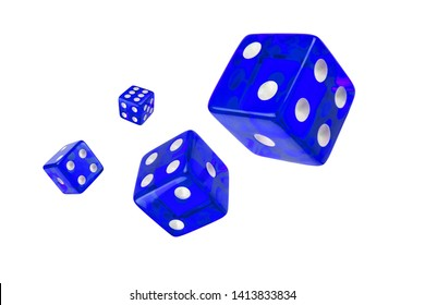 Four blue dice flying randomly in the air on a white background, isolated