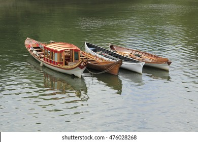 four boats on thames river in richmond london