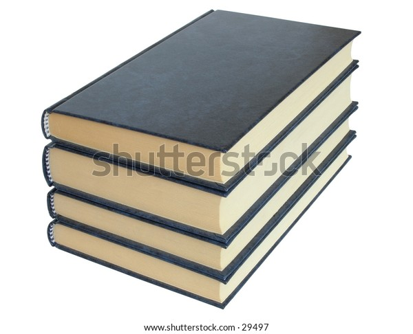 Four books on white background (isolated).