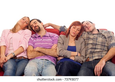 Four Boys and Girls Sleeping on Sofa