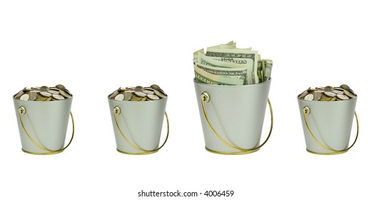 Four buckets with money in a row