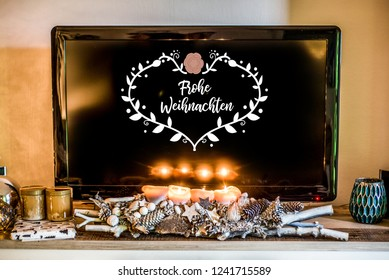 four burning advent candles, beautiful decorated setup light TV in Background textspace saying merry christmas in German