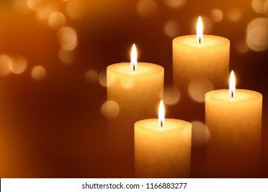 four burning candle lights in advent season