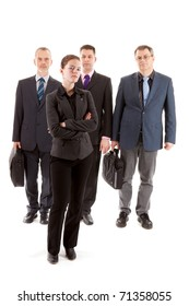 Four business people, one young woman and three older men over white background