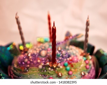 Four Candles Wait To Be Lit In The Top Of This Sea Themed Colorful Birthday