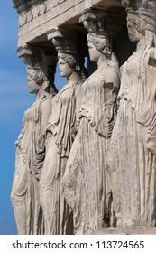 Four Caryatids, The Erechtheum, Acropolis, Athens, Greece