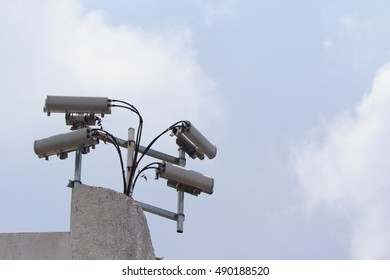 Four CCTV Post with The Sky