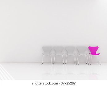 Four chairs and a pink Chair to face a blank wall