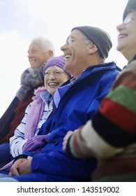 Four cheerful senior friends spending time together outdoors