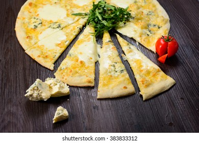 four  cheese pizza is delicious fresh Italian