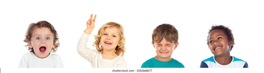 Four children making different expressions isolated on a white background