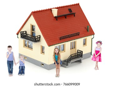 Four children stand near little house with tiled roof isolated on white, collage with three models