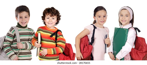 Four children students returning to school on a white background