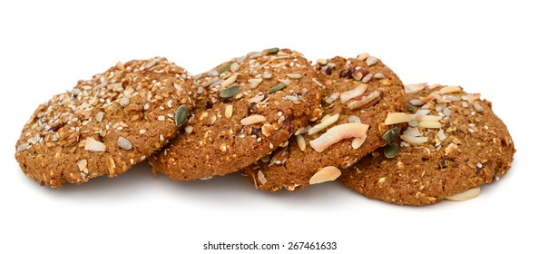 four chip cookies on white background