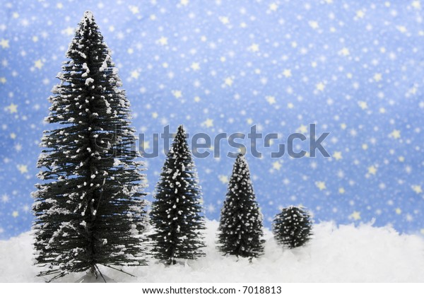 Four Christmas on snow with star background
