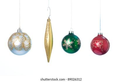 Four Christmas ornaments.