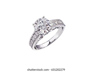 four claw carat round shape diamond ring on isolate white background