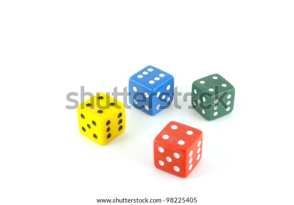 four-color-dice-over-white-600w-98225405