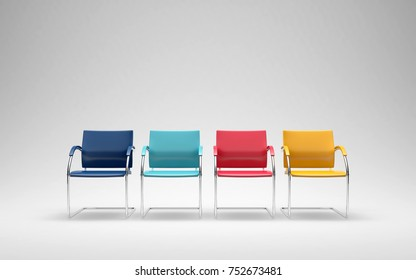 Four colored chairs in empty space 3D render