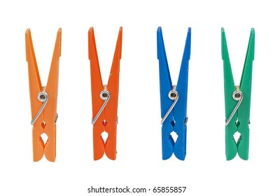 Four colored clothespin isolated on white background