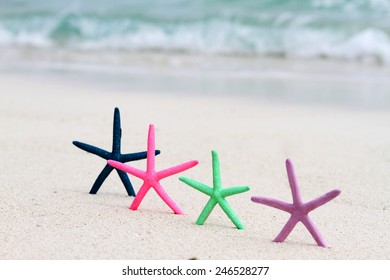Four colored star fish placed upright in the sand on a tropical beach with the ocean in the background