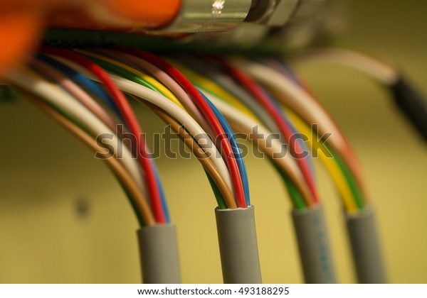 Four colorful cable bundles connected to the hub