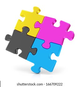 Four colorful CMYK puzzle pieces isolated on white background. Teamwork and offset print concept.