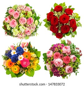 four colorful flowers bouquet for Birthday, Wedding, Mothers Day, Easter, Holidays and Life Events