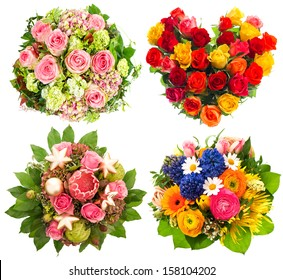 four colorful flowers bouquet for Birthday, Wedding, Mothers Day, Valentines Day, Christmas, New Year. roses arrangement