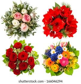 four colorful flowers bouquet. roses, amaryllis, tulips isolated on white background
