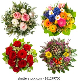 four colorful flowers bouquet for seasons winter, spring, summer and autumn
