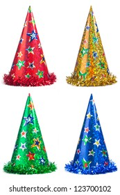 Four colorful party hats collage on a white background
