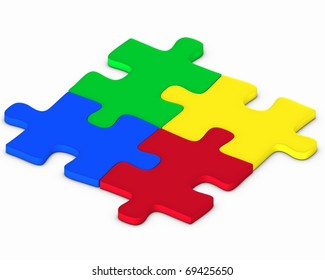 Four colorful puzzles on white background