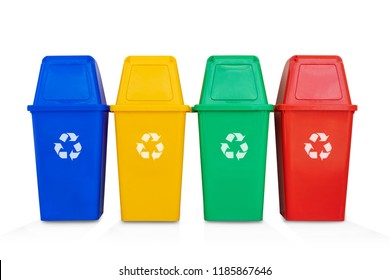 four colorful recycle bins isolated on a white background (with clipping path)