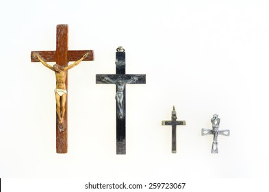 four crucifix on isolated background