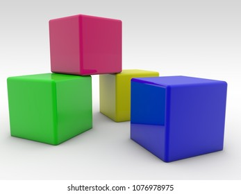 Four cubes in various colors.3d illustration