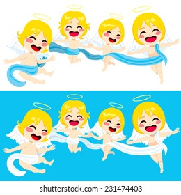 Four cute little angels flying together united with long cloth