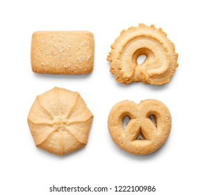 Four Danish Short Bread Butter Cookies Isoated on a White Background.