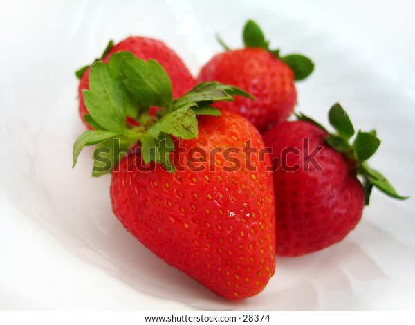 Four delicious looking strawberries sitting in a white bowl. Interesting angle, high key, focus on the strawberry in front.