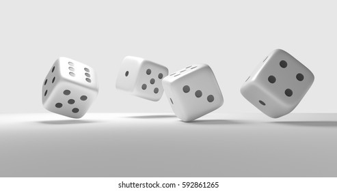 four dices cubes 3d render