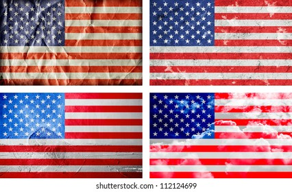 Four different American grunge flags